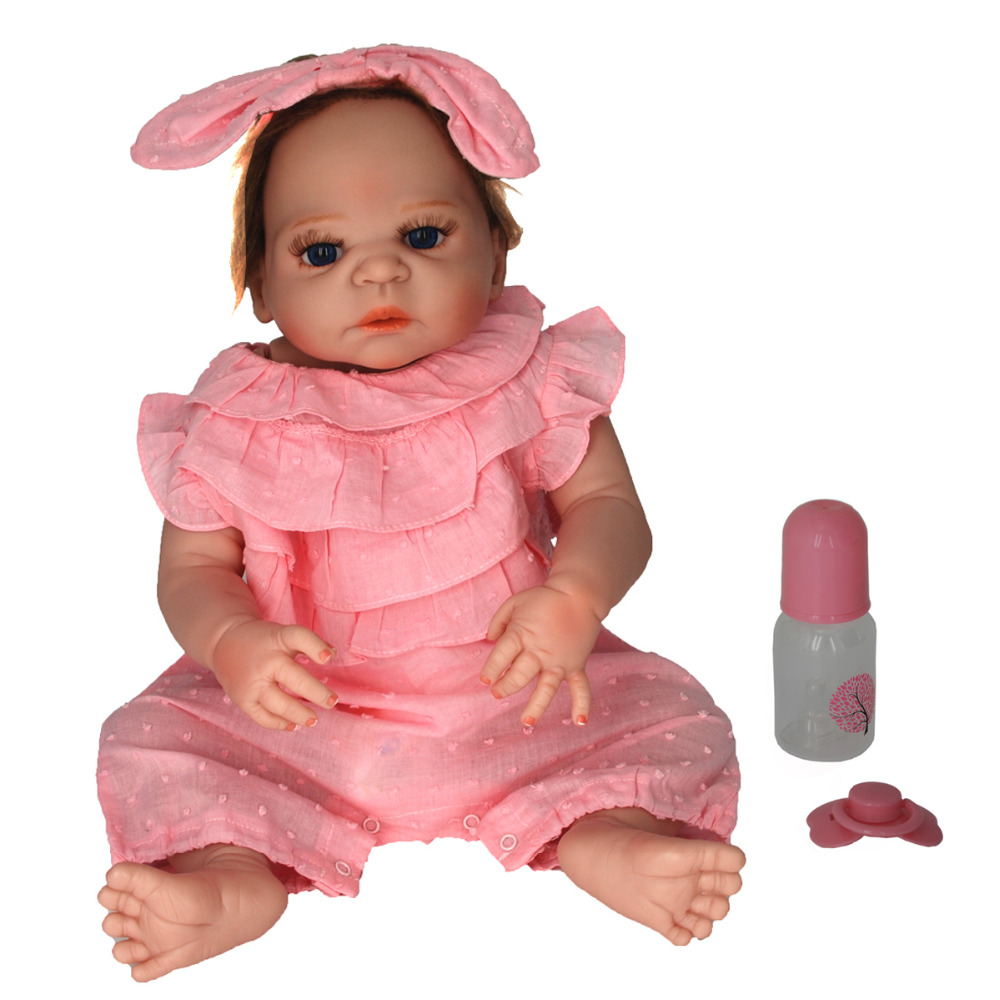 NicoSeeWonder 22 Inch Bonecas Bebe Reborn Baby Dolls Lifelike Full Silicone Reborn Toddler Toys Girl Doll With Pink Clothes Gift short curl hair lifelike reborn toddler dolls with 20inch baby doll clothes hot welcome lifelike baby dolls for children as gift