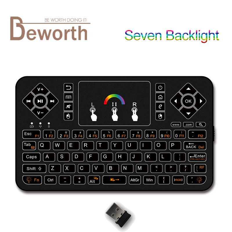 цены Colorful Wireless Mini Keyboard with Backlight 2.4G Fly Air Mouse 7 Changeable Colors Remote Control Full QWERTY Keyboards