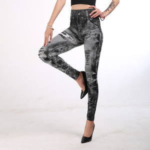 Image 4 - 女性ハイウエストレギンスファッションプッシュアップジーンズ鉛筆パンツ薄型セクシーな偽デニムデニムファム服ドロップシップ