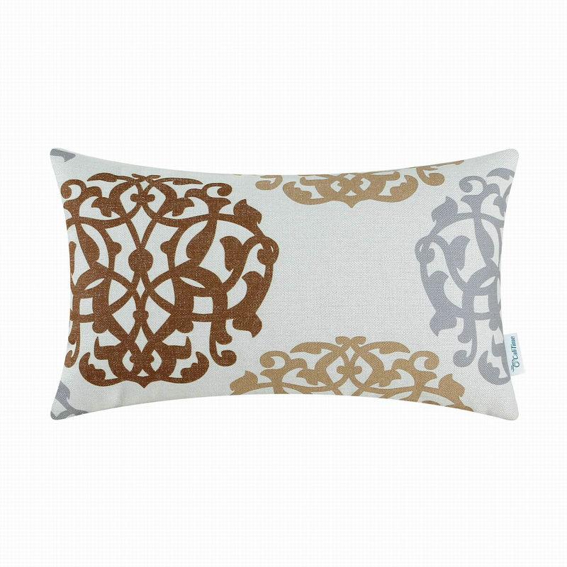 CaliTime Decorative Pillows Shell Cushion Covers Home Sofa Car Floral Geometric Coffee Gray 12 ...