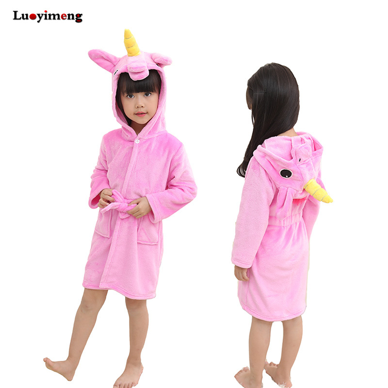 Retail Animal Unicorn Cosplay Pajamas Onsies Bathrobe For Boys Girls Rabbit Cow Flannel Hooded Robe Kids Children Home Sleepwear