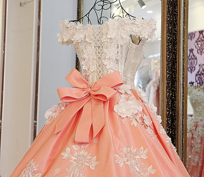 Real photos pearls beaded handmade flowers 50cm train orange satin ball wedding gown with big removable bow ribbons back - 5
