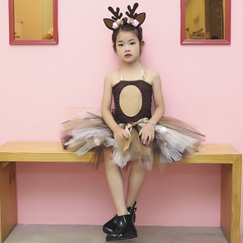 Deer Tutu Dress Happy Purim Baby Girls 1st Birthday Party Dresses Carnival Halloween Winter Cosplay Costume Clothes For Kids 5