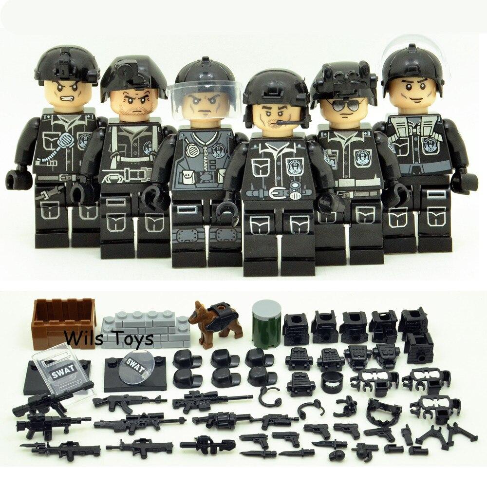 6 pcs SWAT Militaire Armée Guerre Mondiale 2 Navy Seals Forces Spéciales Équipe Soldat Blocs de Construction Brique Figure Jouet Éducatif cadeau Garçon