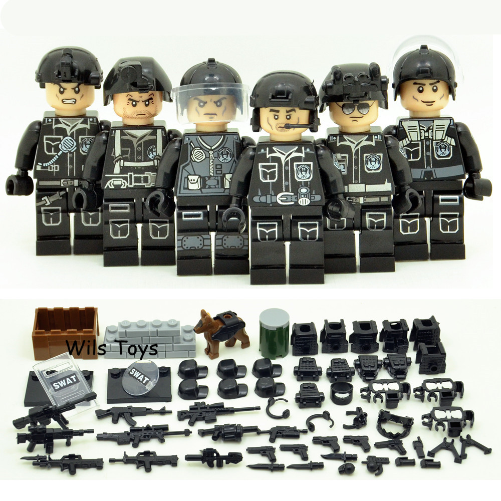 6pcs SWAT Military Army World War 2 Navy Seals Special Forces Team Soldier Building Blocks Brick Figure Educational Toy Gift Boy