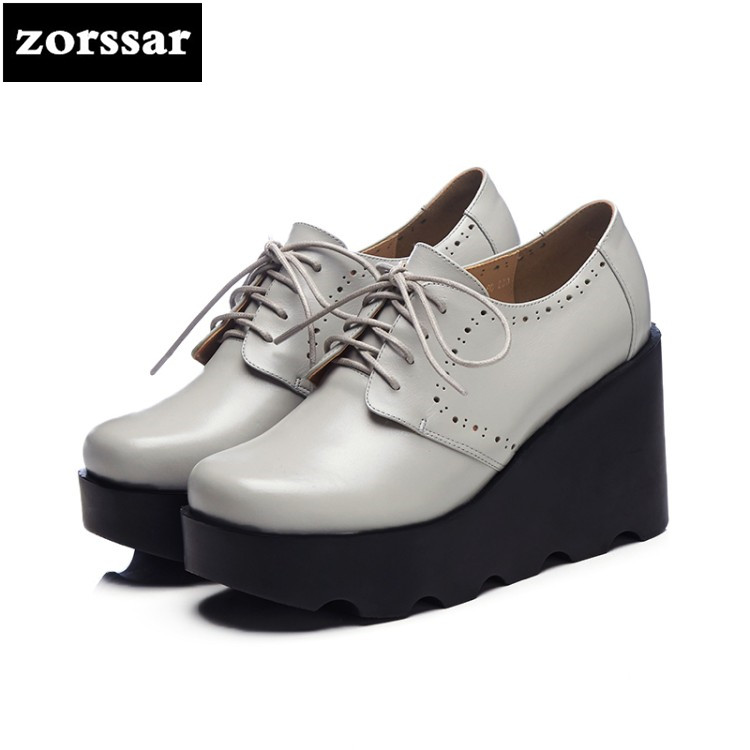 цена на {Zorssar} 2018 fashion Genuine Leather womens Platform shoes heels Lace-up Wedges High heels pumps ladies Creepers shoes casual