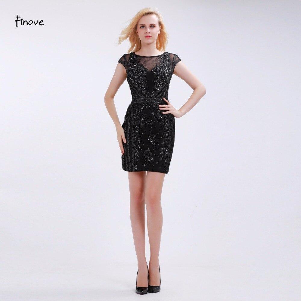 a5078c9757 Finove flores rebordear vestidos de coctel ver a través de tulle volver  2017 nuevo elegante vaina corta vestidos de mangas casquillo de vestidos de  fiesta ...