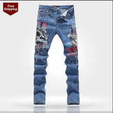 Blue Printing skinny jeans men's zipper 2015 spring  men jeans slim elastic jeans for men Plus Size 28-36