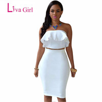 2016 Backless Strapless 2 Two Piece Dress Cute Ruffles Stitching Crop Top And Skirt Set Women