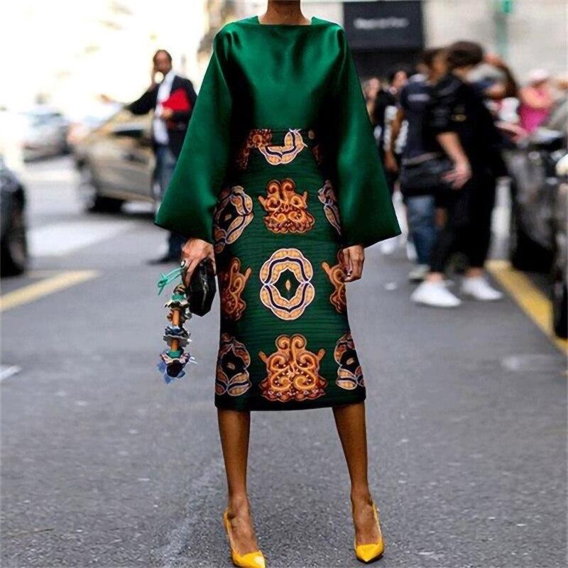 Комплект из 2 предметов с винтажным принтом, юбка до колена с расклешенными рукавами, костюм, шелковисто-зеленое атласное платье, осенние аф...