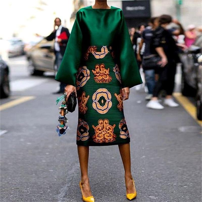 Floral Print Satin Dress Plus Size Elegant Green Dress Party Women 2020 Autumn Vintage Office Laides Sexy Bodycon Dress Vestidos
