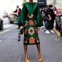 Floral Print Satin Dress Plus Size Elegant Green Dress Party