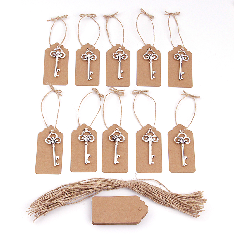 50pcs/lot Creative Portable Silver Key Shaped Beer Bottlee Opener With Personalized Name Or Thank You Paper Tags Wedding Favors