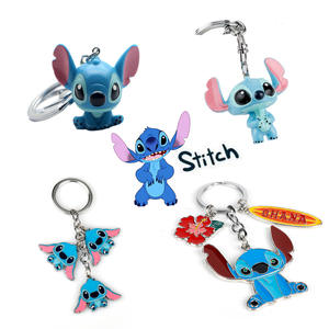 Dolls Keychain Key-Keyrings Lilo-Stitch Ohana Family Cartoon Kawaii Bags Gifts Toy Chaveiros