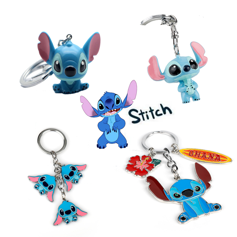 Dropshipping Cartoon Ohana Friendship Lilo Stitch Keychain 3D Toy Dolls Gifts Kawaii Family Bags Key Keyrings Chaveiros