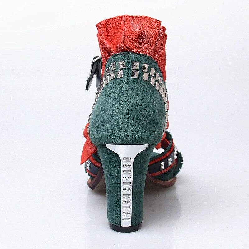 De Negro Cm 8 Jady rojo verde Mujer Bombas Sandalias Correa Rosa Tobillo Alto Gladiador Mezclado Remaches Color Tacón Zapatos Mujeres Verano wBxZrOwnUq