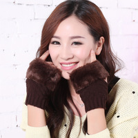 Spring Autumn Winter Women Wool Arm Gloves Button Knitted Mitten Lengthen Half Finger Gloves Ladies Gloves
