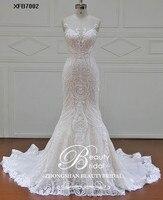 Красота невесты 100% реальные фотографии халат Русалка Роскошные платья для женщин Королевский поезд кружево с плеча свадебное платье 2019
