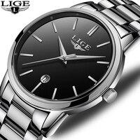 ¡Novedad de 2018! reloj deportivo a prueba de agua LIGE para hombre  moderno y sencillo  con indicador de fecha  relojes de cuarzo para hombre  reloj Masculino