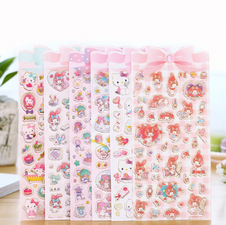 Cute Cartoon Hello Kitty Melody Twinstar Decorative Sticker Diary Album Label Sticker DIY Scrapbooking Stationery Stickers cartoon animal sticker toy owl giraffe print kids toy sticker cute diary book scrapbooking calendar album deco sticker 1 sheet