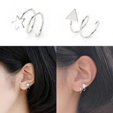 2Pcs Ear Cuff Wrap Earrings Jewelry Piercing Clip On Earrings Star Triangle Cartilage Clip Diy Settings Silver Color 2019 New цена
