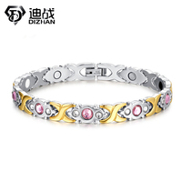 Healing Magnetic Bracelet Men Woman 316L Stainless Steel Health Care Elements Magnetic Germanium Gold Hand Chain