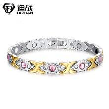 Elementos de Cuidado Médico de la Pulsera magnética Pulsera de Cadena de Oro Rosa de Cristal de Acero Inoxidable 316L Pulseras para las mujeres