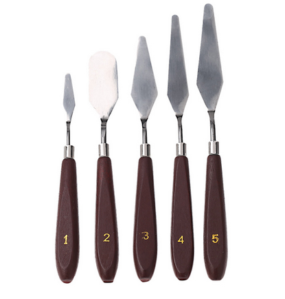 5pcs Artist Oil Painting Knife Palette Utility Knife Set Mixed Scraper Set Spatula Knives  Stainless Steel AOA015
