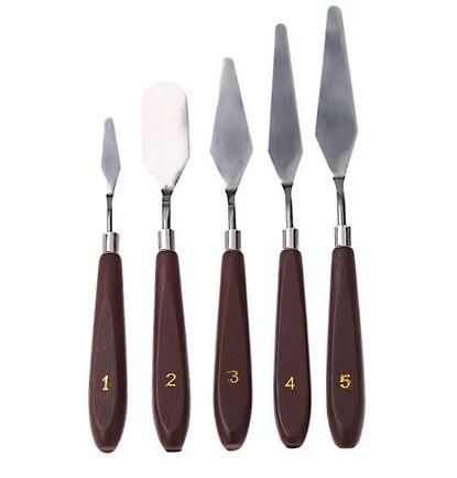 5pcs Artist Oil Painting Knife Palette Utility Knife Set Mixed Scraper Set Spatula Knives  Stainless Steel AOA015