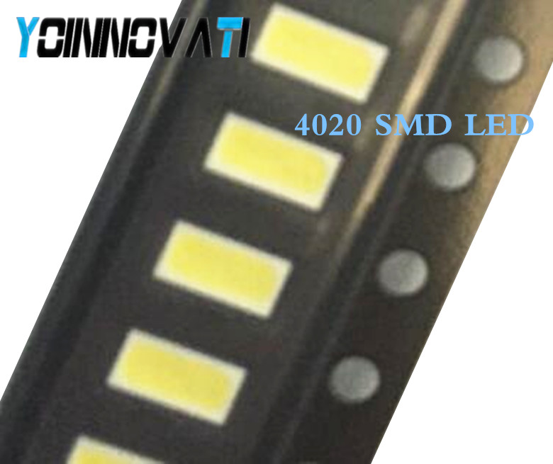 Free Shipping 100pcs/lot  4020 SMD LED Beads Cold White 1W 6V 150mA For TV/LCD Backlight Best Quality.