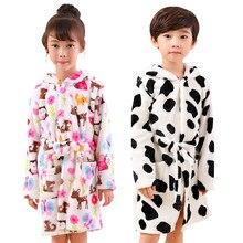 ccdab24c07 Autumn Winter Children Flannel Robe Baby Kids Cartoon Hooded Sleepwear 3-6  Years Boy Girl Pajamas Bathrobes Toddler Home Clothes