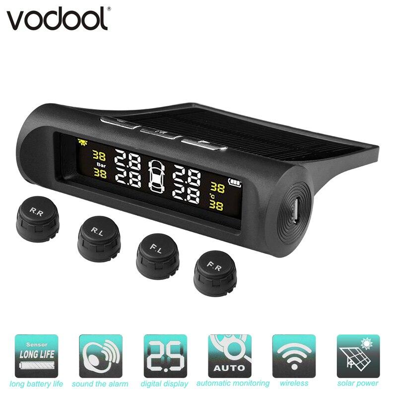 VODOOL Solar Power Smart Wireless TPMS Car Tire Pressure Monitoring System LCD Digital Display Temperature Warning Alarm System
