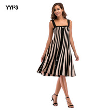 2dcaf39dfdaea YYFS New Women Plus Size Dress 2018 New Summer Loose Dress Fashion Striped  Spaghetti Strap Dresses