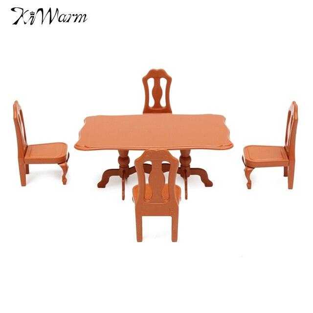 KiWarm Mignon 1 Set En Plastique Manger Tables Chaises Miniature Poupes Maison Meubles Ornements Pour