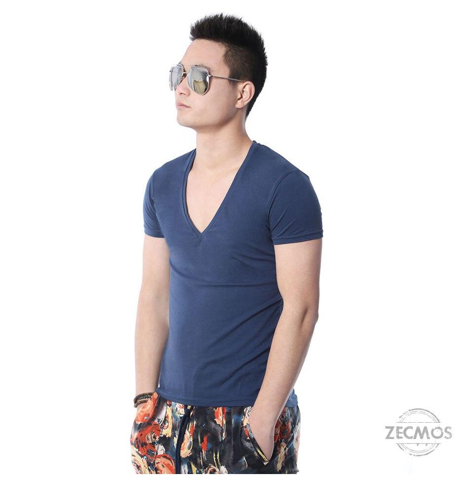 Zecmos Deep V Neck Sexy Men T-Shirt Vintage Short Sleeve Solid Color Muscle Fit T Shirt Men Top Tees Fashion 45