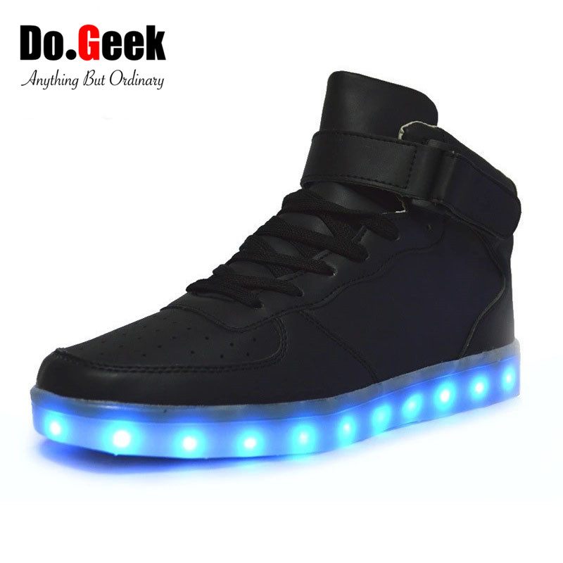 ... size 12 light up shoes Debenhams  good quality 59c55 31f16 2017 DoGeek  High Top 7 Colors Men LED Shoes USB Charge Glowing ... dd23cb3dd02e