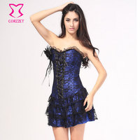 2616 women sexy lolita lace satin corset tutu dress S M L XL XXL Red Blue Purple Black White