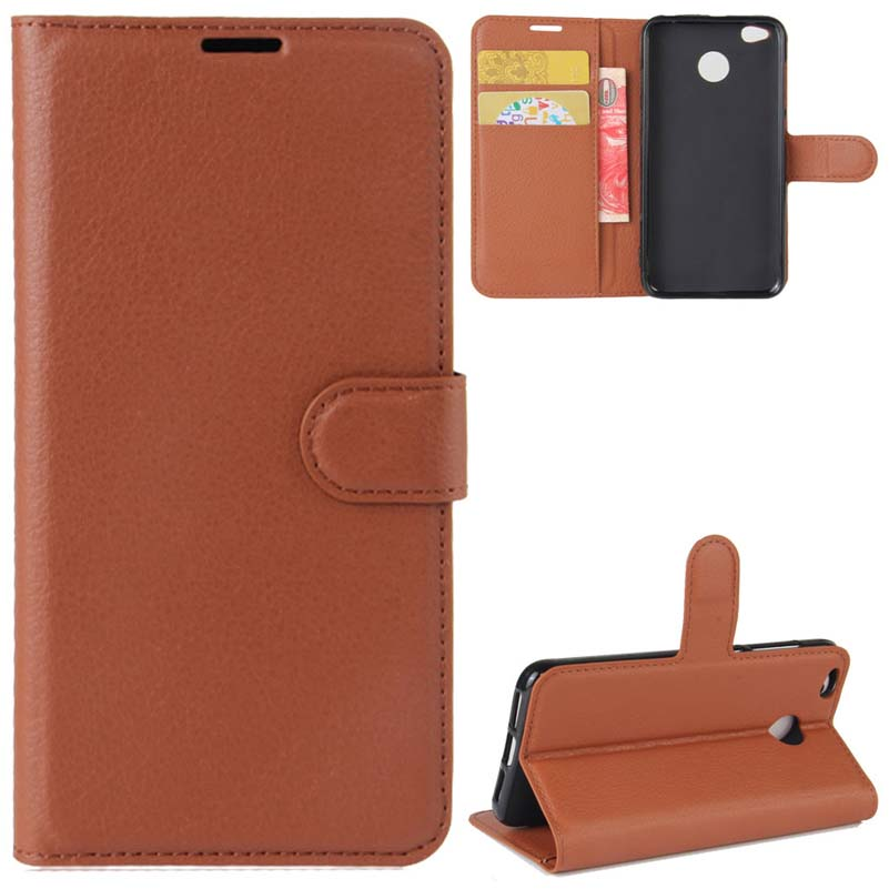 YINGHUI Wallet Leather Phone Case For Xiaomi Redmi 4X Lichi Skin Cover Cases Mobile Part Accessories For Redmi-4X Holster Bag
