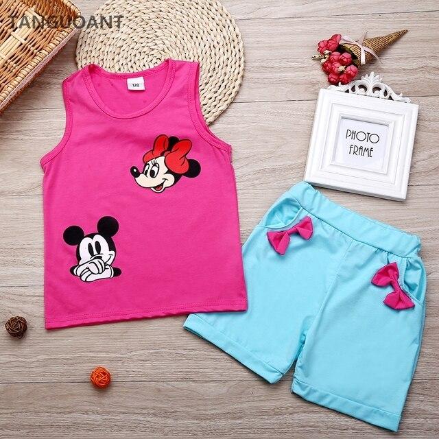 TANGUOANT quần áo Trẻ Sơ Sinh toddler trẻ em mùa hè bé cô gái quần áo bộ phim hoạt hình 2 pcs phim hoạt hình chuột quần áo bộ trẻ em mùa hè đặt