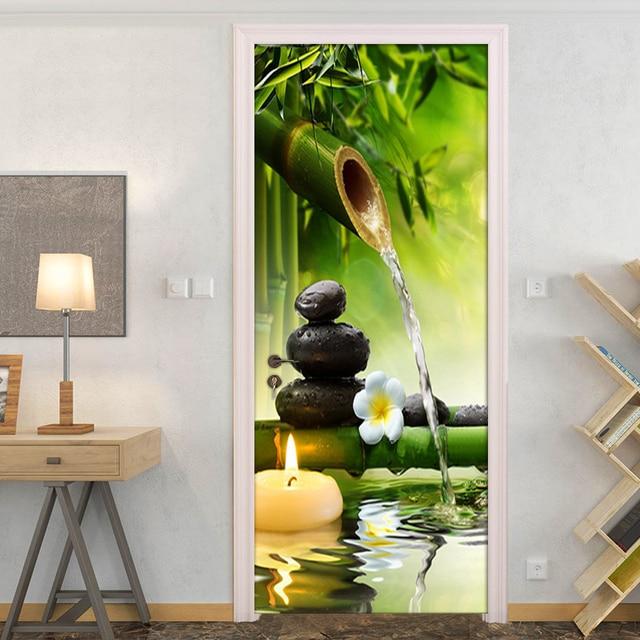 3d Zen Bamboo Stones Wall Art Door Mural Wallpaper Wall Sticker