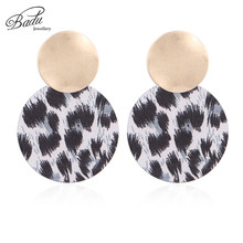 Badu Round Leopard Acrylic Stud Earrings for Women Big Exaggerated Jewelry Autumn Winter Earring Christmas Gift Wholesale