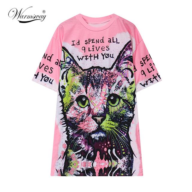 2017 nova marca de moda verão harajuku animais cat imprimir camisa o-pescoço longo solto camiseta mulheres tops t-shirt rosa ts-043