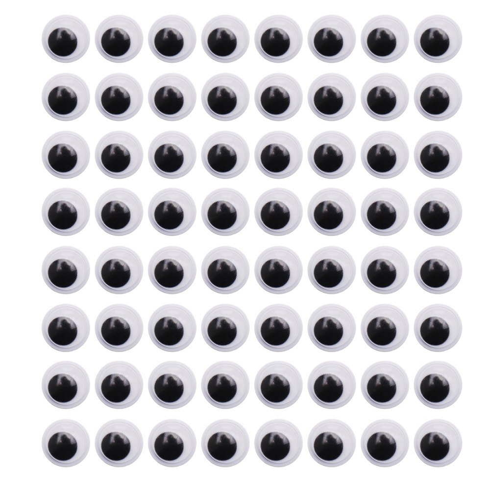 CCINEE 120PCs 15mm Doll Wiggly Eyes Plastic With Self adhesive Googly Eyes For Toy DIY Doll