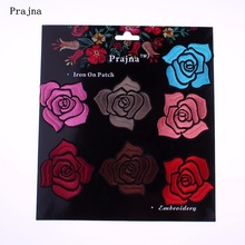 Фотография Prajna Brand Card Patch Rose Patch 6 Color Beautiful Floral Embroidered Iron Sew On Patches For Clothes Dress Coat DIY Applique