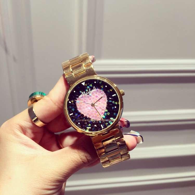 ФОТО Luxury Stainless Steel Ladies Wristwatch Women Female Dress Quartz Watch Rose Gold Rhinostone Sparkling Shining Watches OP001
