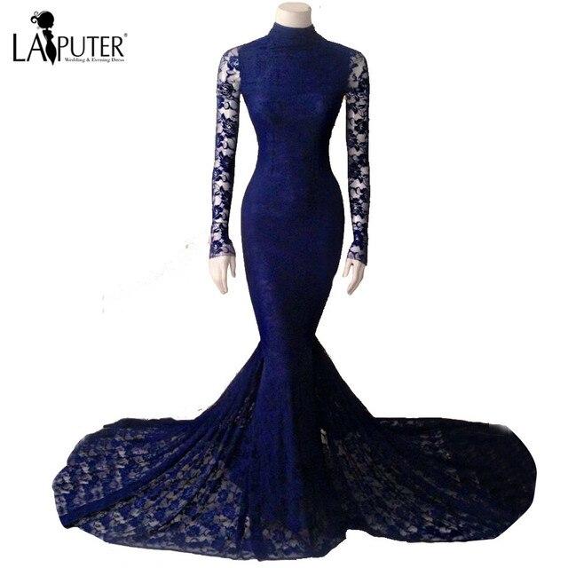 Echt Royal Blue Lace Brautkleider High Neck Gericht Zug Sheer Lange ...