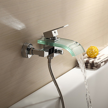 Contemporary Bathroom basin Tub Faucet Glass waterfall Spout Wall Mount tap