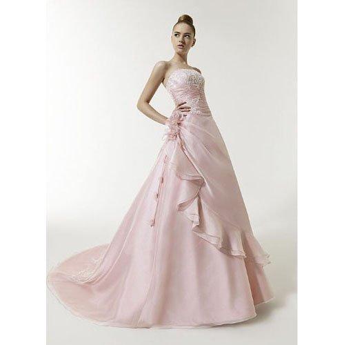 Livraison gratuite Sundayfrog Vintage a - ligne de lumière rose perles broderie bretelles en Satin main mariage Floral Dress-09022