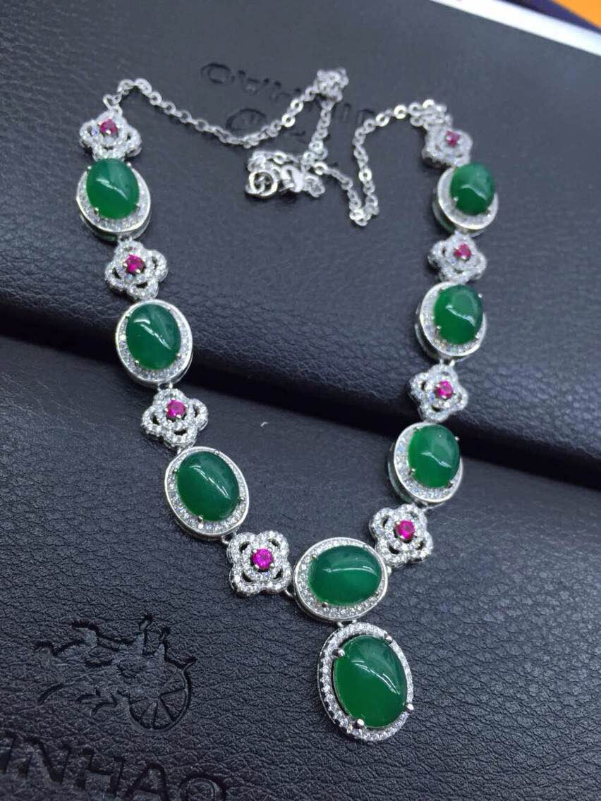 Natural green chalcedony Necklace Natural Gemstone Pendant Necklace 925  sliver women Luxury trendy big round women party Jewelry 43562b9cf495