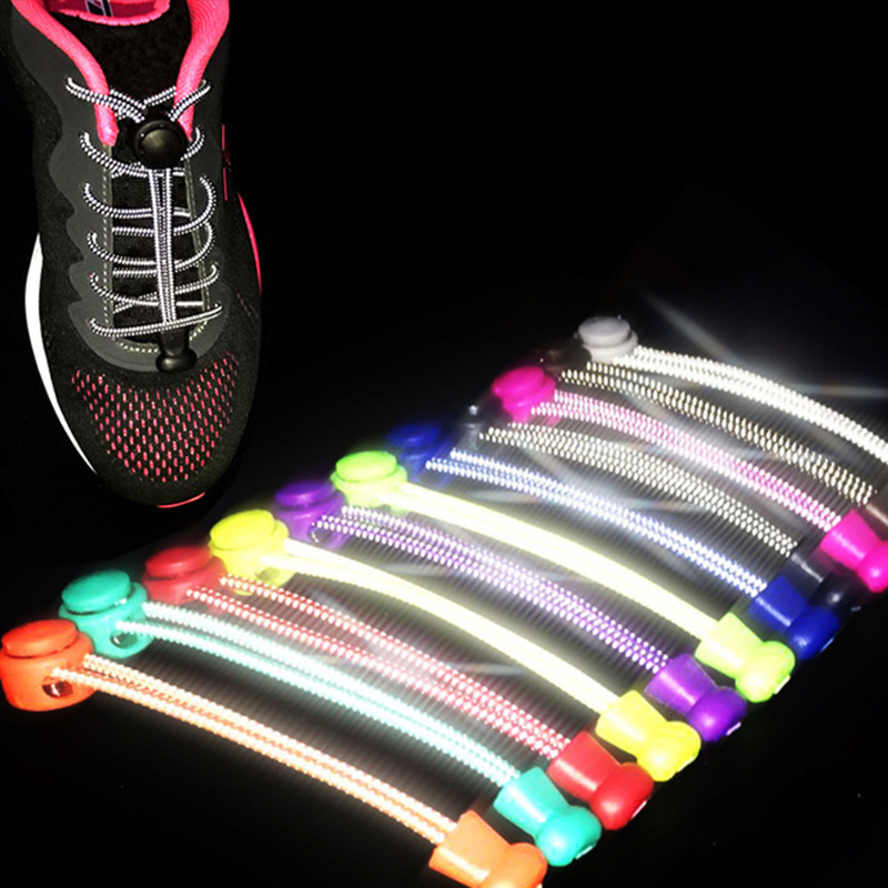 Reflective Elastic Shoe Laces Elastic Lock System Sports Sneakers No Tie Shoelaces For Running Trainer Safety Reflection At Nigh